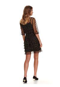 Czarna sukienka TOP SECRET w kropki, koszulowa