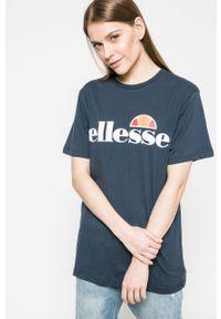 Niebieska bluzka Ellesse z nadrukiem, casualowa, na co dzień