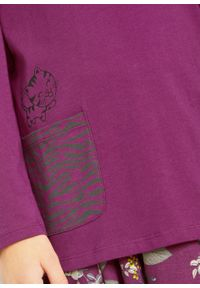 Shirt dziewczęcy z długim rękawem (2 szt.), bawełna organiczna bonprix fioletowy + szary melanż. Kolor: fioletowy. Materiał: bawełna. Długość rękawa: długi rękaw. Długość: długie. Wzór: melanż