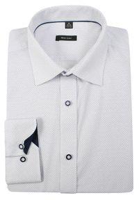 Biała elegancka koszula Grzegorz Moda Męska z długim rękawem, długa, w kropki, do pracy