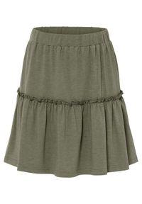 Spódnica shirtowa z falbaną bonprix oliwkowy melanż. Kolor: zielony. Wzór: melanż