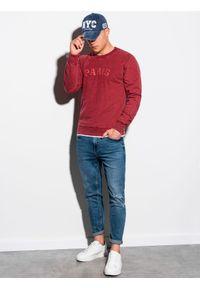Czerwona bluza Ombre Clothing bez kaptura, z nadrukiem, klasyczna