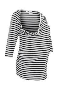 Shirt ciążowy i do karmienia z nadrukiem Myszki Miki bonprix biało-czarny w paski. Kolekcja: moda ciążowa. Kolor: biały. Wzór: paski, nadruk