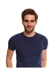 Niebieski t-shirt TOP SECRET z nadrukiem, z krótkim rękawem, krótki