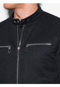 Czarna kurtka Ombre Clothing ze stójką, na wiosnę