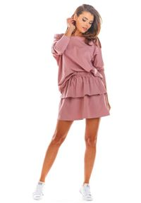 Infinite You - Różowa Rozkloszowana Mini Spódnica z Falbanką. Kolor: różowy. Materiał: bawełna, lycra