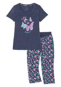 Piżama ze spodniami 3/4 bonprix niebieski melanż z nadrukiem