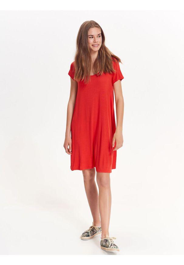 Czerwona sukienka TROLL na co dzień, na lato, casualowa, z krótkim rękawem