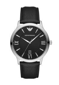 Emporio Armani - Zegarek AR11210. Kolor: czarny. Materiał: skóra, materiał