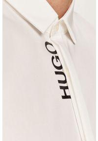 Biała koszula Hugo na co dzień, casualowa, z długim rękawem