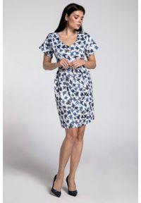 Niebieska sukienka Nommo bombki, wizytowa, w kwiaty