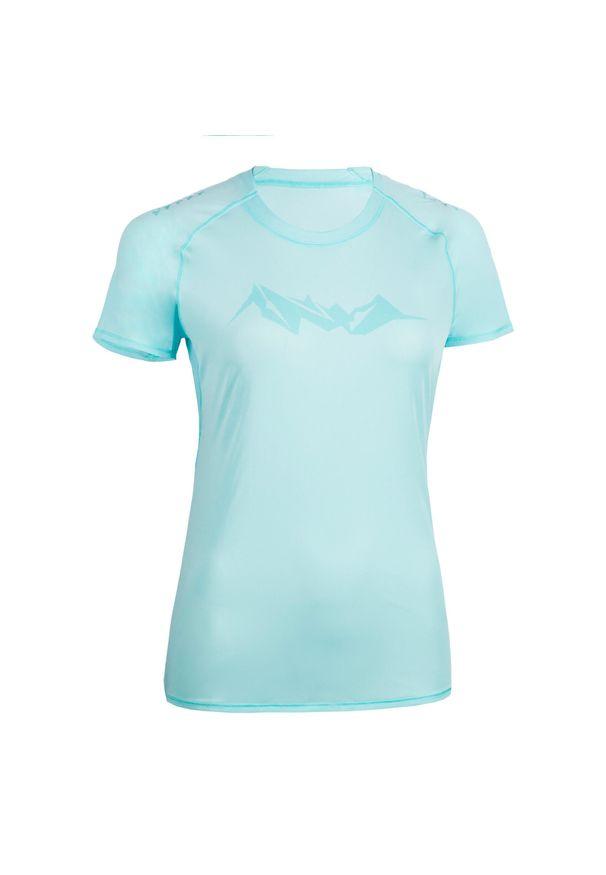 EVADICT - Koszulka damska do biegania w terenie. Typ kołnierza: okrągły. Kolor: niebieski. Materiał: poliester, materiał. Sport: bieganie