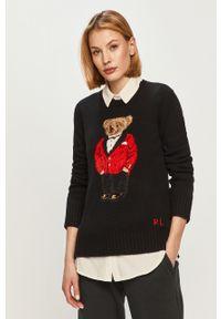 Czarny sweter Polo Ralph Lauren casualowy, na co dzień, z aplikacjami
