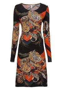 Sukienka z dżerseju z nadrukiem bonprix czarny z kolorowym nadrukiem. Kolor: czarny. Materiał: jersey. Długość rękawa: długi rękaw. Wzór: nadruk, kolorowy. Styl: elegancki