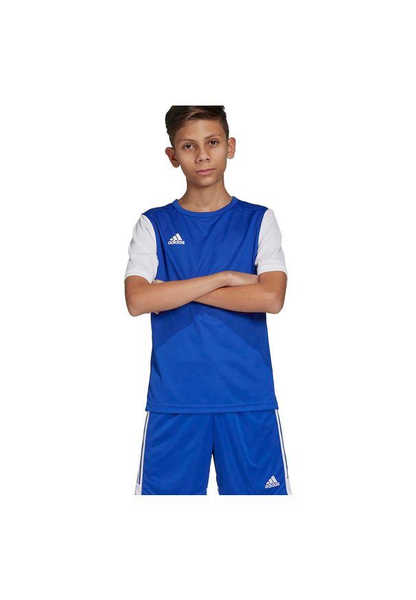 Adidas - Koszulka piłkarska dla dzieci adidas Estro 19 Jr DP3217. Materiał: materiał, syntetyk, włókno, skóra, poliester. Długość rękawa: krótki rękaw. Technologia: ClimaLite (Adidas). Długość: krótkie. Sport: piłka nożna