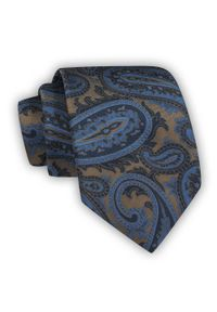 Chattier - Krawat Męski, Brązowo-Granatowy, Duże Paisley, Klasyczny, Szeroki 8 cm, Elegancki -CHATTIER. Kolor: niebieski, beżowy, brązowy, wielokolorowy. Materiał: tkanina. Wzór: paisley. Styl: klasyczny, elegancki