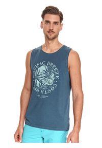 TOP SECRET - T-shirt bez rękawów z nadrukiem. Kolor: niebieski. Materiał: bawełna, tkanina. Długość rękawa: bez rękawów. Wzór: nadruk. Sezon: lato. Styl: wakacyjny, klasyczny