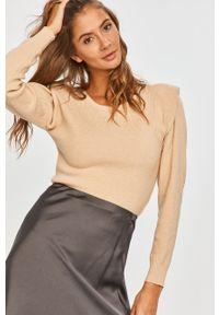 Beżowy sweter Answear Lab wakacyjny, z długim rękawem, z okrągłym kołnierzem, długi
