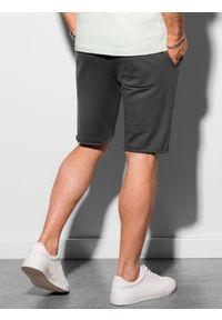 Ombre Clothing - Krótkie spodenki męskie dresowe W299 - grafitowe - XXL. Kolor: szary. Materiał: dresówka. Długość: krótkie