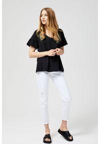 Czarna bluzka MOODO z dekoltem na plecach, krótka