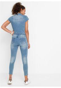 Kombinezon dżinsowy z guzikami bonprix lodowy niebieski denim. Kolor: niebieski. Materiał: denim. Styl: elegancki #6