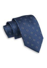 Granatowy Męski Krawat -Chattier- 7,5cm, Klasyczny, Szeroki, Elegancki, w Kwiaty. Kolor: niebieski. Materiał: tkanina. Wzór: kwiaty. Styl: klasyczny, elegancki