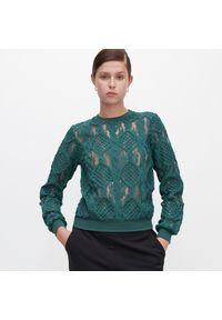 Turkusowa bluzka Reserved w ażurowe wzory