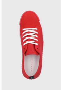 Sisley - Buty skórzane. Nosek buta: okrągły. Zapięcie: sznurówki. Kolor: czerwony. Materiał: skóra