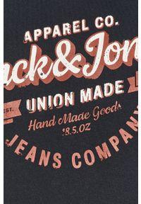 Niebieska bluza nierozpinana Jack & Jones na co dzień, z nadrukiem, casualowa, z kapturem