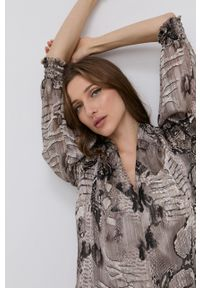 Nissa - NISSA - Sukienka. Kolor: szary. Materiał: tkanina, materiał. Długość rękawa: długi rękaw. Typ sukienki: rozkloszowane