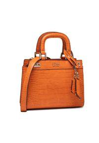 Guess - Torebka GUESS - Katey (CG) Mini HWCG78 70760 ORANGE. Kolor: pomarańczowy. Materiał: skórzane. Rodzaj torebki: na ramię