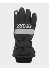 4f - Rękawice narciarskie chłopięce. Kolor: czarny. Materiał: dzianina, futro, syntetyk. Technologia: Thinsulate. Sport: narciarstwo
