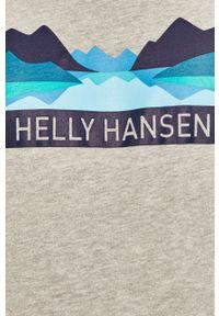 Szara bluza nierozpinana Helly Hansen z kapturem, casualowa, z nadrukiem