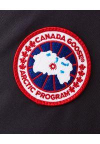 CANADA GOOSE - Granatowa Parka Chateau. Okazja: na spacer. Kolor: niebieski. Materiał: materiał. Wzór: aplikacja. Sezon: zima. Styl: klasyczny