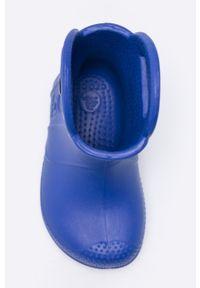 Niebieskie kalosze Crocs z okrągłym noskiem, z cholewką, gładkie