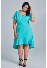Miętowa sukienka dla puszystych Moda Size Plus Iwanek z asymetrycznym kołnierzem, z krótkim rękawem