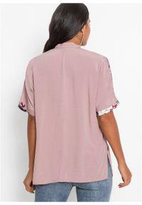 Różowa bluzka bonprix z asymetrycznym kołnierzem, krótka