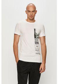 Biały t-shirt Tom Tailor z nadrukiem, na co dzień, casualowy