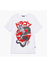 Cropp - Koszulka z nadrukiem - Biały. Kolor: biały. Wzór: nadruk