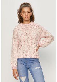 Różowy sweter Vila długi, z długim rękawem, z okrągłym kołnierzem