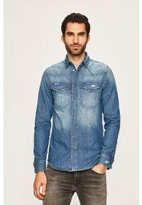 Niebieska koszula Pepe Jeans na co dzień, długa, klasyczna, z klasycznym kołnierzykiem