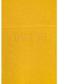 Żółta bluza Guess Jeans z kapturem, casualowa, na co dzień