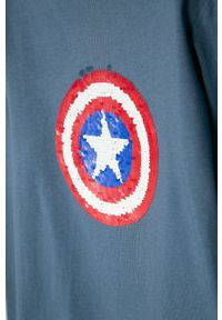 Niebieska koszulka z długim rękawem GAP z aplikacjami, na co dzień