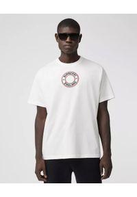 Burberry - BURBERRY - Biała koszulka z graficznym nadrukiem. Okazja: na co dzień. Kolor: biały. Materiał: jeans, elastan, bawełna. Wzór: nadruk. Styl: elegancki, klasyczny, casual