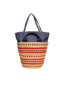 Czerwona torebka Muun na lato, w kolorowe wzory, do ręki, elegancka