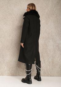Renee - Czarny Płaszcz Amatheris. Kolor: czarny. Materiał: jeans, futro, materiał, poliester. Długość: długie