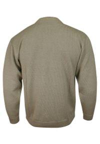 Beżowy sweter Kings ze stójką, w geometryczne wzory