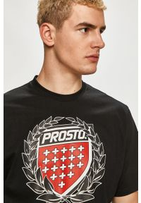 Czarny t-shirt Prosto. z nadrukiem, na co dzień, casualowy