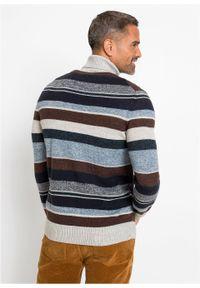 Niebieski sweter bonprix z golfem, w paski
