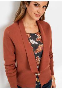 Sweter rozpinany w fasonie żakietu bonprix Sweter rozp czer.kwar-zł. Kolor: brązowy